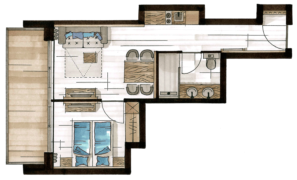 Layout Alpine Apart, 2-4 persons