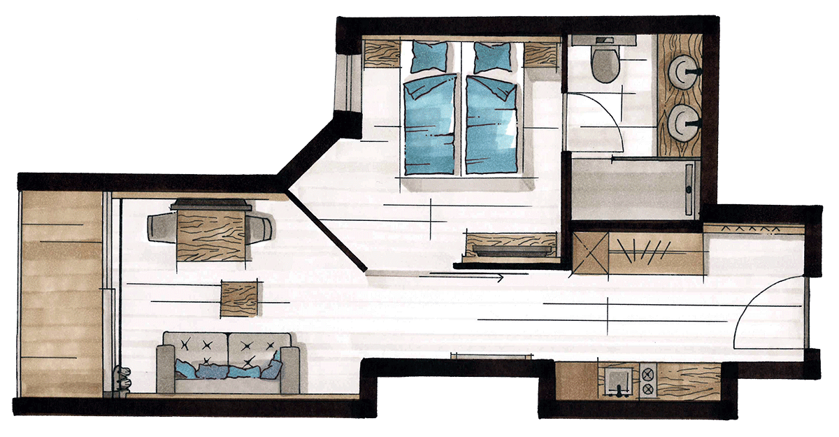 Layout Alpine Apart, 2 persons