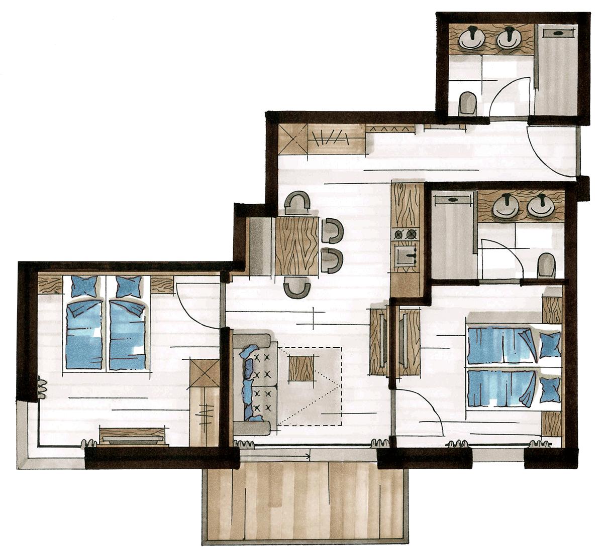 Grundriss Alpine Apart, für 4-6 Personen