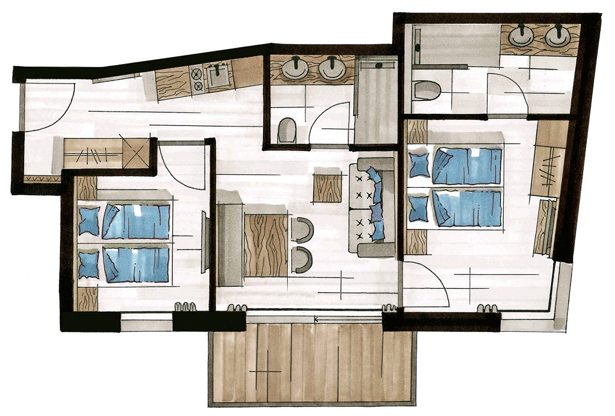 Layout Alpine Apart, 4 persons