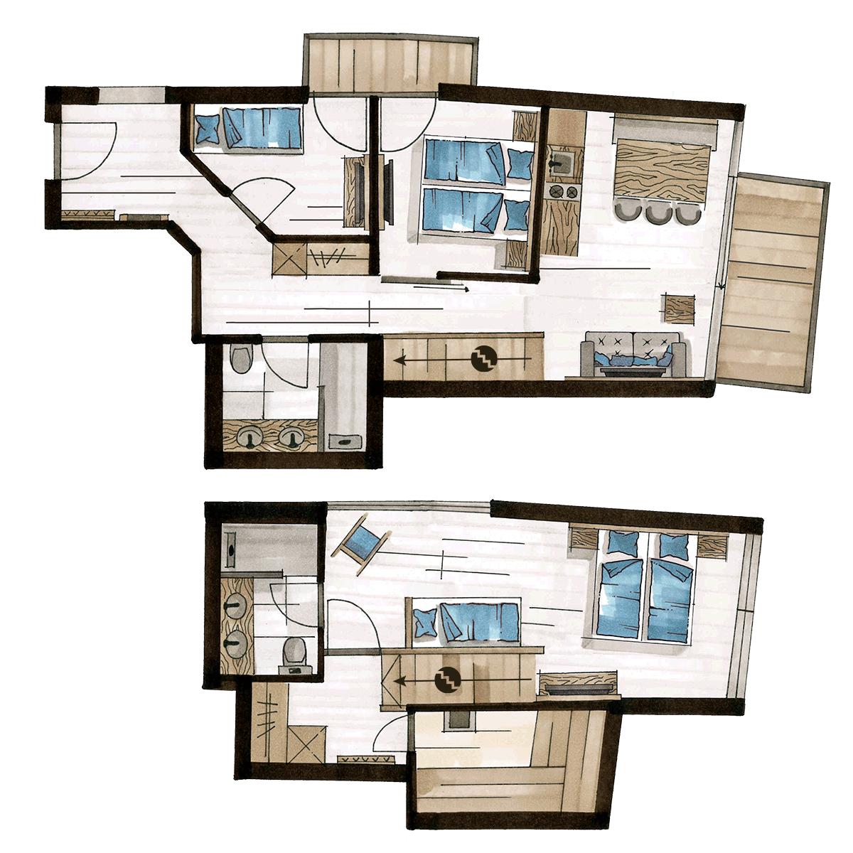 Grundriss Luxury Penthouse, für 5-6 Personen