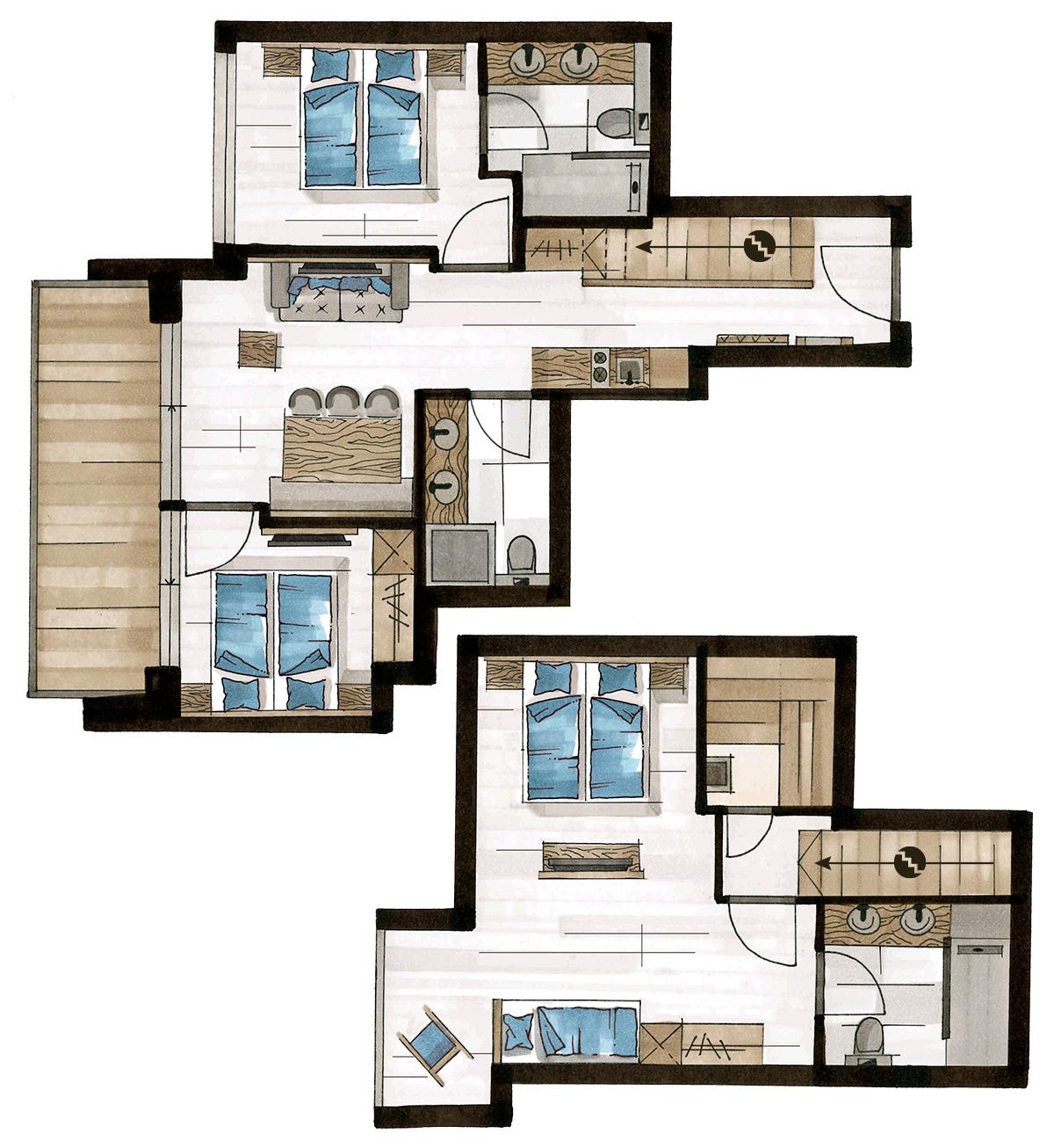 Grundriss Luxury Penthouse, für 6-7 Personen